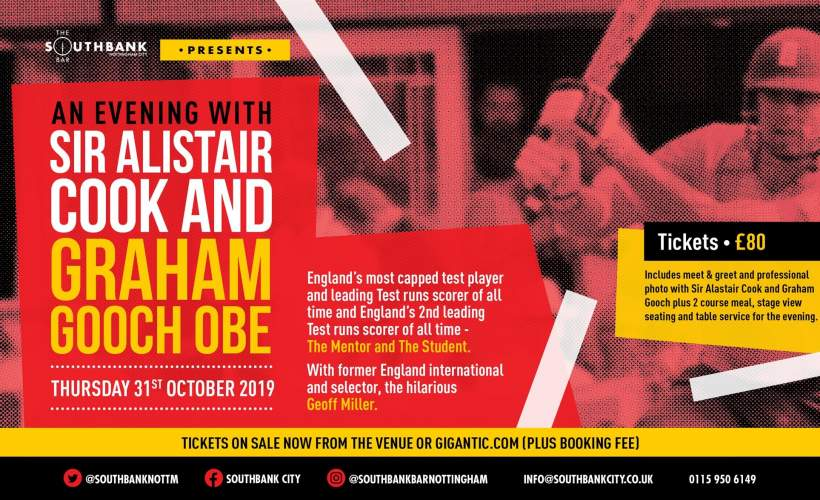 An Evening with Sir Alistair Cook and Graham Gooch OBE tickets