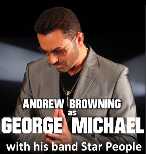 Andrew Browning as George Michael with his band Star People