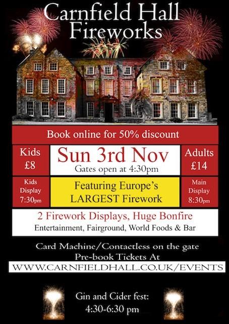Carnfield Hall Firework and Bonfire Extravaganza