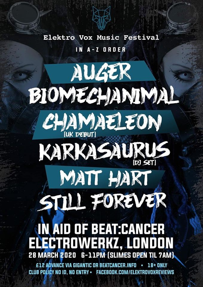 Elektro Vox Music Festival (In aid of Beat:Cancer) - Sat 28 Mar