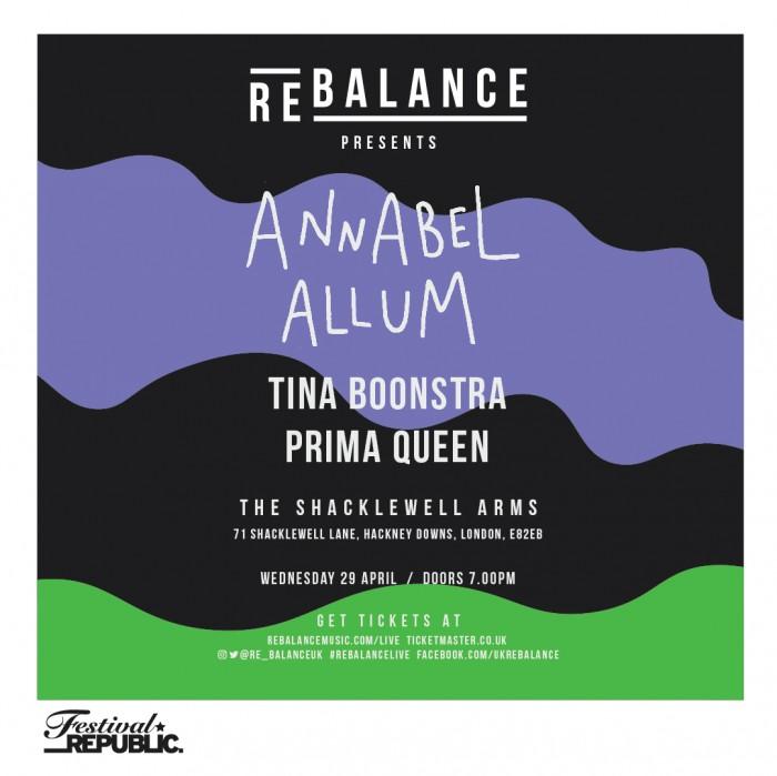 Rebalance Presents: Annabel Allum Tina Boonstra, Prima Queen